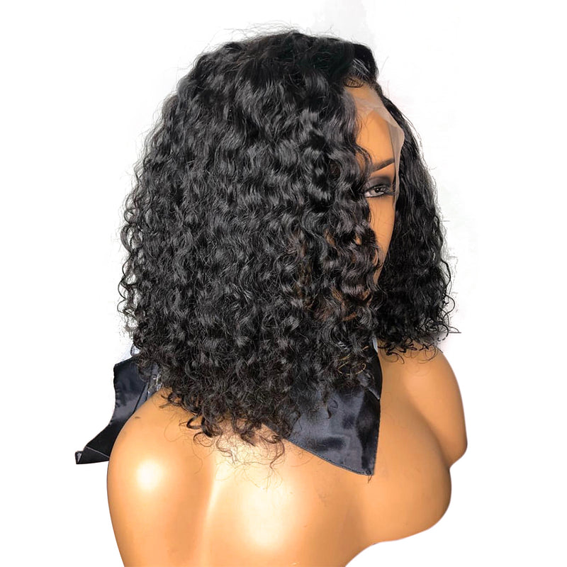 "13""x 6"" Invisible knots Short Curly Bob wig Transparent lace wig"