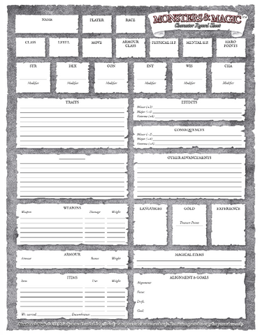 MONSTERS & MAGIC CHARACTER SHEET - FREE