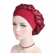 Load image into Gallery viewer, Women's Satin Solid Wide-Brimmed Sleeping Bonnet Soft Cap For Your Hair