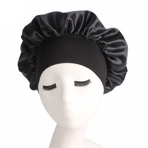 Women's Satin Solid Wide-Brimmed Sleeping Bonnet Soft Cap For Your Hair