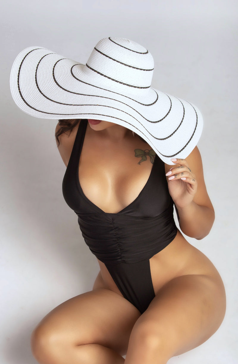 TAKE ME TO TULUM HAT IN WHITE/BLACK-ACCESSORIES-Twerkish Boutique