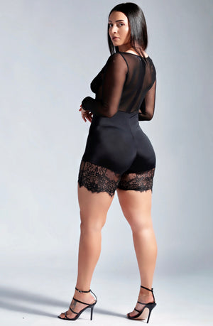 LACED UP SHEER JUMPER-ROMPERS-Twerkish Boutique