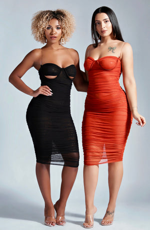 HUGS YOUR BODY MIDI DRESS IN ORANGE-DRESSES-Twerkish Boutique
