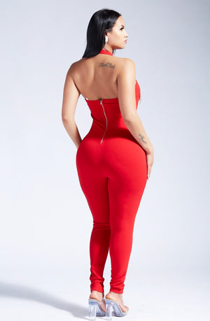 HOT DATE JUMPSUIT- RED-JUMPSUITS-Twerkish Boutique
