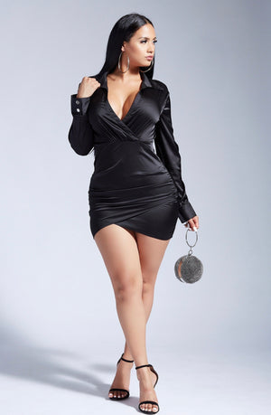 MARTINI PLEASE SATIN DRESS- BLACK-DRESSES-Twerkish Boutique