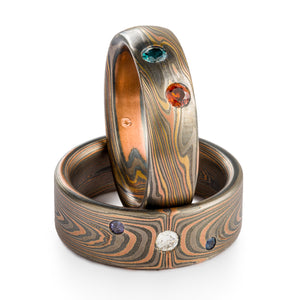 Unique Mokume Gane Ring Set or Wedding Band Set in Embers and Firestorm Palettes and Twist and Vortex Patterns