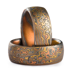 Mokume Gane Matching Wedding Band Set or Ring Set in Twist/Droplet Pattern and Oxidized Firestorm Palette