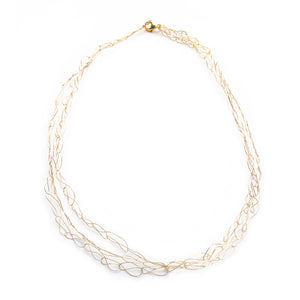 Spun Gold Wire Cloud Necklace