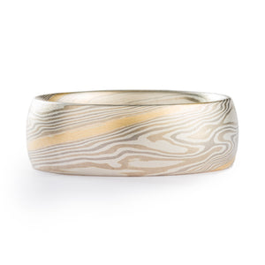 Hand Crafted Mokume Gane Wedding Band or Ring in Twist Pattern and Smoke Palette with Yellow Gold Stratum