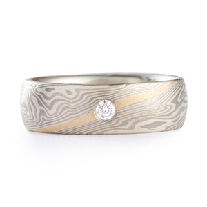 Elegant Mokume Wedding Band in Smoke Palette and Twist Pattern with Diamond