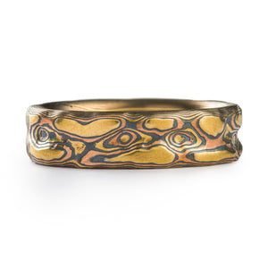 Rustic Mokume Ring in Fire Palette and Guri Bori Pattern
