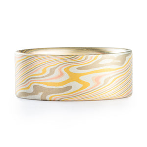 Summery Mokume Gane Ring in Twist Pattern and Firestorm Palette