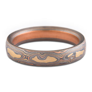 nature mokume gane wedding ring band firestorm palette woodgrain pattern