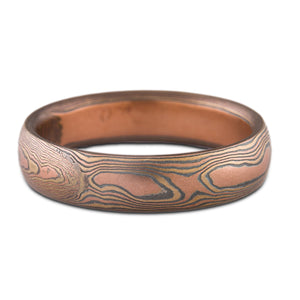 Mokume Gane ring or wedding band custom made arn krebs, fire palette and woodgrain pattern, red gold yellow gold and silver