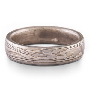 Mokume Gane Ring Wedding Band Woodgrain Pattern and Ash Palette SHIPS TODAY