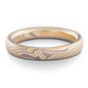 3mm mokume gane band ring in flare palette and twist pattern on white background