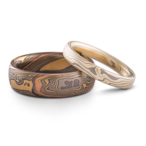Unique Mokume Gane Twist Pattern Ring or Wedding Band Set in Flare Palettes