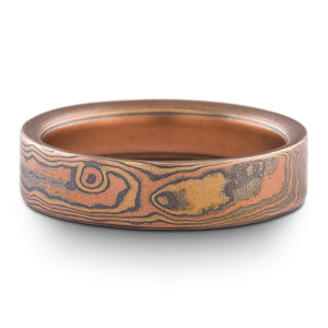 Hand Crafted Mokume Gane Band or Wedding Ring Woodgrain Pattern in Fire Palette