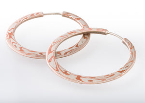 Handcrafted Mokume Hoops in Copper and Silver SHIPS TODAY