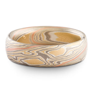 Organic Twist Pattern Mokume Gane Band in Flare Palette w/ 14k Red Gold Stratum Layer