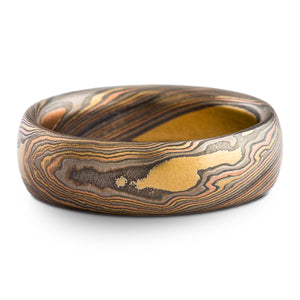 Bold Nature Inspired Mokume Gane Wedding Band or Ring in Firestorm Palette and Twist Pattern