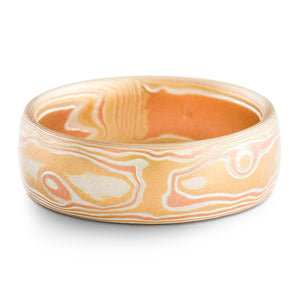 Luminous Mokume Gane Wedding Ring or Band in Fire Palette and Woodgrain Pattern with Etched Finish