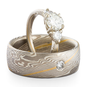 Luxurious Mokume Gane Wedding Ring Set in Custom Smoke Palette and Twist Pattern with 22k Gold Stratum