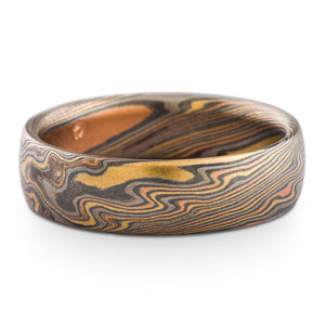 Striking Mokume Gane Wedding Band or Ring in Twist Pattern and Oxidized Firestorm Palette