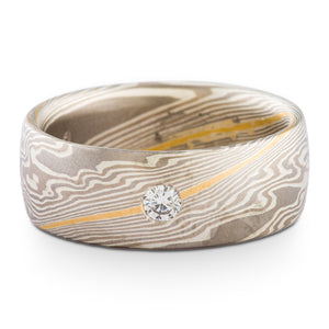 Classic Mokume Gane Ring or Wedding Band in Smoke Palette and Twist Pattern with 22k gold stratum and Flush Set Diamond