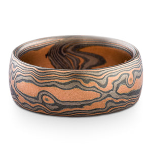 Mokume Gane custom ring or wedding band arn krebs, woodgrain pattern and embers palette, red gold silver and palladium
