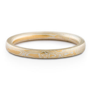 Delicate Mokume Gane Ring or Wedding Band in Non Oxidized Spark Palette and Woodgrain Pattern