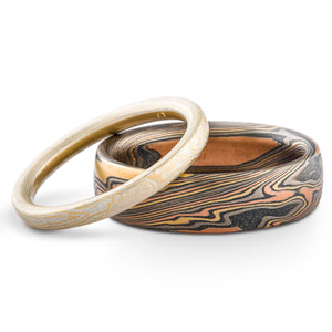 mokume gane matched wedding set