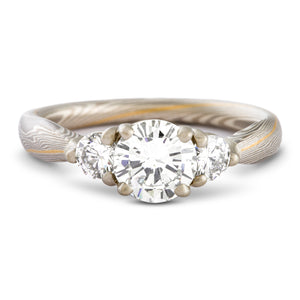 Mokume Gane ring or engagement ring arn krebs, prong set round diamonds, 22kt yellow gold stratum, twist pattern and Smoke palette, white gold palladium and sterling silver