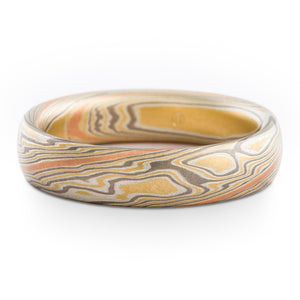 Canyon Mokume Gane Wedding Band or Ring in Flare Palette and Twist Pattern
