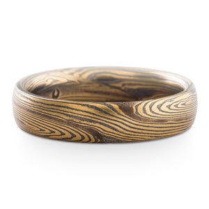 Classical Art Inspired Mokume Gane Wedding Band or Ring in Metamorphic Pattern and Oxidized Spark
