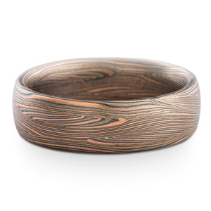 Earthy Mokume Gane Ring or Wedding Band in Flow Pattern with Mokume Knots in Oxidized Embers Palette