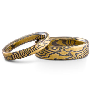 Lively Twist Pattern Mokume Gane Ring Wedding Band Set in Oxidized Spark Palette