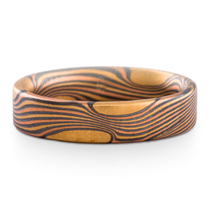 Bonfire Mokume Gane Ring or Wedding Band in Flow Pattern and Fire Palette