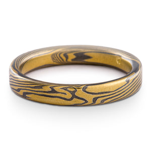 Contemporary Mokume Gane Ring or Wedding Band in Twist Pattern and Oxidized Spark Palette