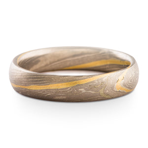 Mokume Gane Ring or Wedding Band Twist Pattern and Ash Palette with Yellow Gold Stratum SHIPS TODAY