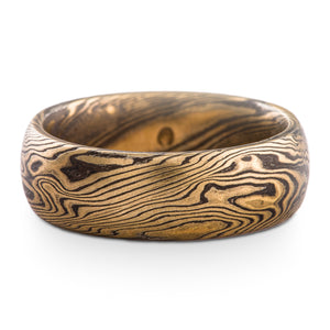 Naturalistic Mokume Gane Ring Wedding Band Twist Pattern in Oxidized Spark Palette SHIPS TODAY