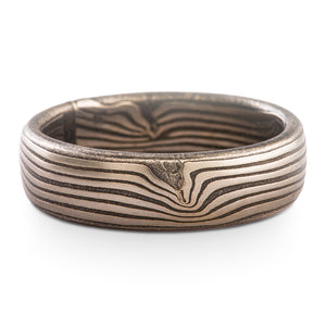 Gentle Current Mokume Gane Ring Wave Pattern in Ash Palette SHIPS TODAY