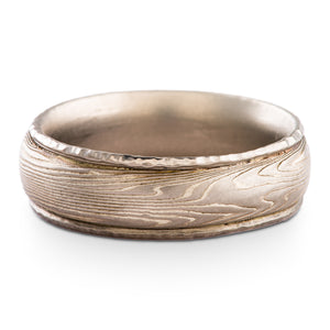 Vintage Inspired Mokume Gane Ring Wedding Band Twist Pattern and Ash Palette with Added Rails SHIPS TODAY