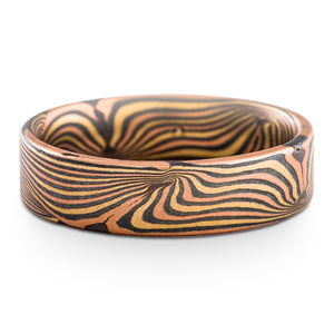 Mokume Gane Ring or Wedding Band in Wave Pattern and Fire Palette SHIPS TODAY