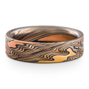 Rustic Mokume Gane Ring or Wedding Band in Firestorm Palette and Twist Pattern with Etched Finish SHIPS TODAY