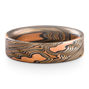 Mokume gane ring made by arn krebs firestorm palette twist pattern, flat profile, red gold yellow gold silver and palladium
