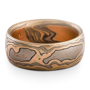 Rustic Mokume Gane Ring or Wedding Band in Firestorm Palette and Woodgrain Pattern with Etched Finish SHIPS TODAY