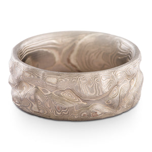 Mokume Gane Wedding Band or Ring in Guri Bori Pattern and Ash Palette with Heavy Etch SHIPS TODAY