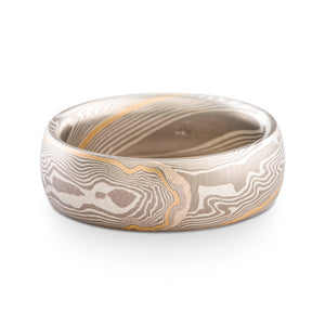 Elegant Mokume Gane Ring or Wedding Band in Smoke Palette and Twist Pattern with added Yellow Gold Stratum