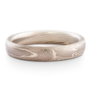 Misty Mokume Gane Ring or Wedding Band in Twist Pattern and Ash Palette